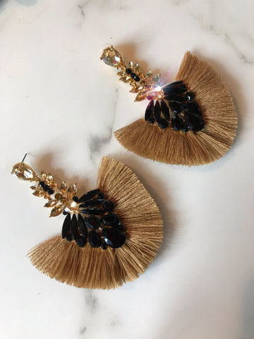 Taupe and Black Crystal Fan Earrings