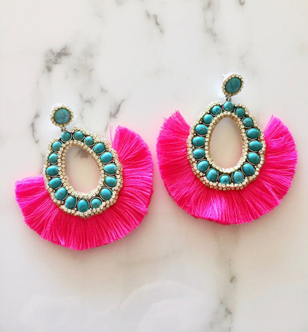 Turquoise and Hot Pink Crystal Fringe Earrings