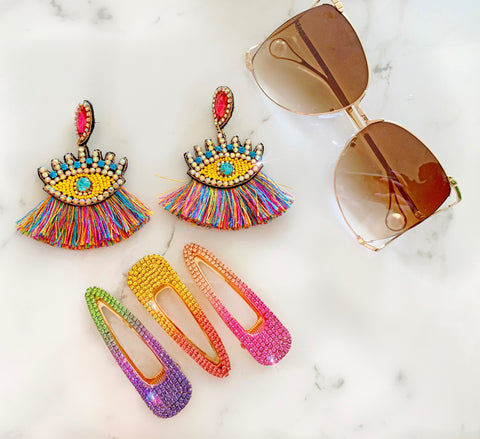 Multi Color Evil Eye Earrings, Rainbow Oversized Clips and Pearl Sunglasses