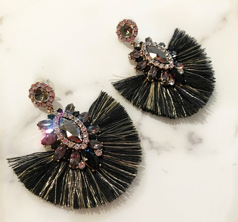 Black and Gold Dreamer Fringe Earrings