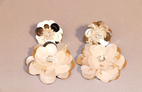 Silver and Flower Earrings