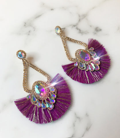 Purple AB Fringe Earrings