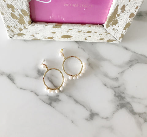 Gold Wire Wrapped Pearl Hoops
