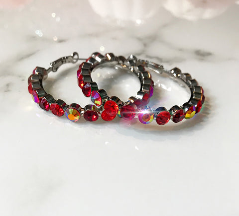 Red Small Hoops