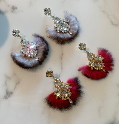 Fur Crystal Fan Earrings