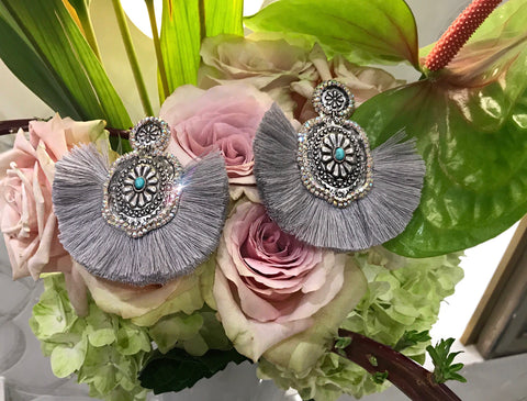 Grey AB Concho Earrings