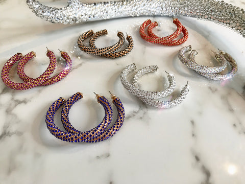 CZ Chain Wrapped Hoops