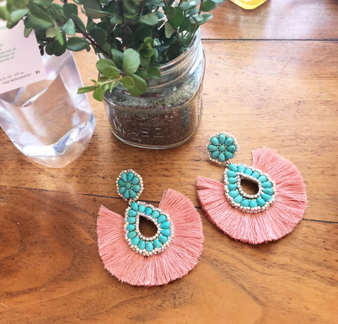 Dusty Pink Turquoise Fringe Earrings