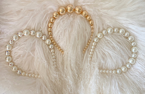 Gold and Pearl Crystal Headbands