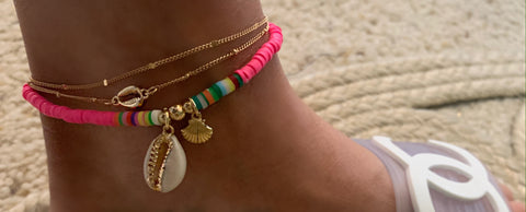 Hot Pink Shell Anklet