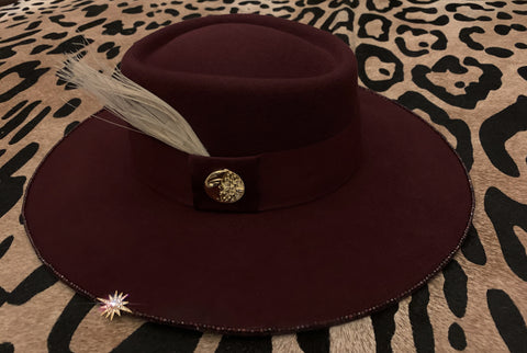 Ruby Maroon Felt Moon and Star Hat