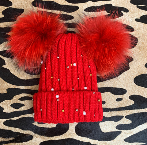 Red Double Pearl Pom Pom beanie