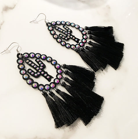 Black Cactus Tassel Earrings