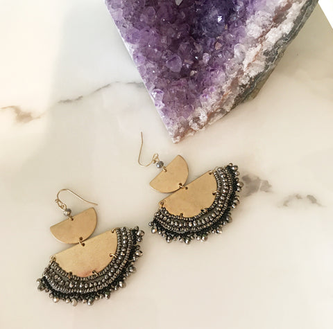 Grey Beaded Earrings