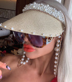 Pearl Visor / Pearl and Crystal Sunglasses Chain