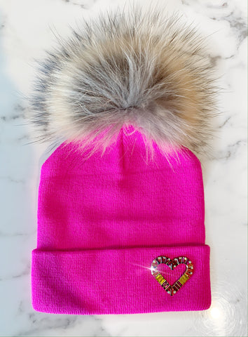 Hot Pink Heart Beanie