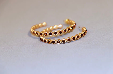 Gold and Red Stone Hoops