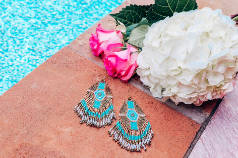 Beaded Turquoise and Gold Earrings
