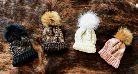 Metallic Knit Genuine Fur Beanie