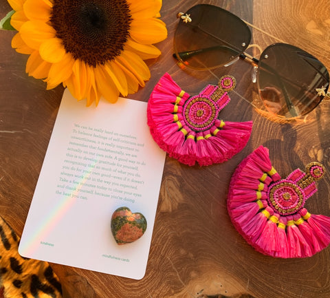 Hot Pink Straw Earrings and Bee Aviators