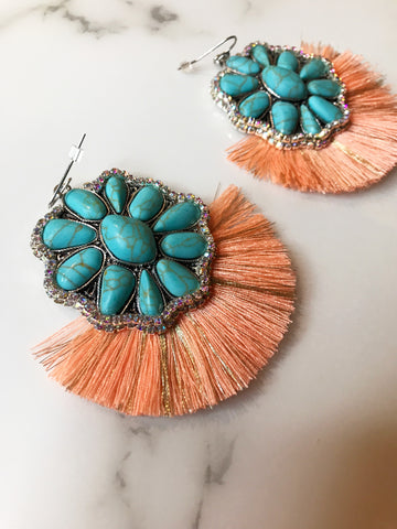 Turquoise AB Orange Metallic Earrings