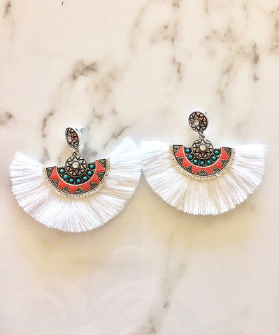White Crystal Southwestern Fringe Earrings