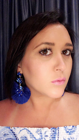 Blue Crystal Fan Earrings