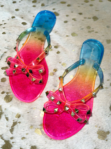 Red / Rainbow Stud Flip Flops