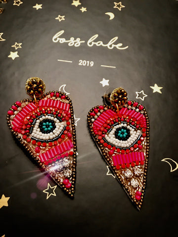 Pink Evil Eye Heart Earrings