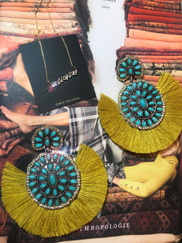 Mustard Turquoise Fringe Earrings / CZ baguette necklace