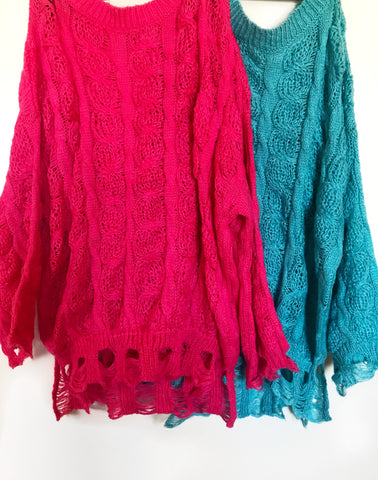 Pink / Blue Distressed Sweaters