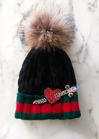 Heart and Arrow Cable Knit Beanie