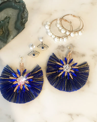 Royal Blue Star Burst Earrings