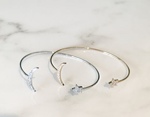 Star and Moon CZ Bangles