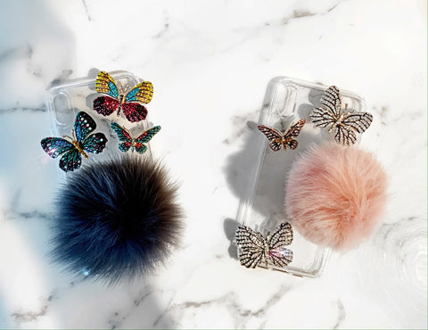 Grey and Pink Fur Phone Grip and Butterfly Phone Cases