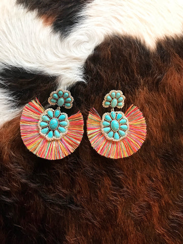 Turquoise and Multi Color Fringe Earrings