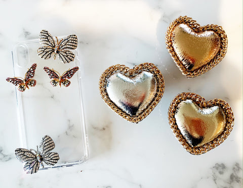 Metallic Chain Heart Phone Grips