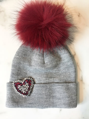 Maroon and Grey Beanie