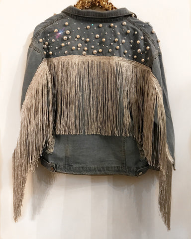 Silver Pearl and Crystal Fringe Jacket