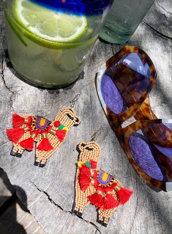 Beaded Lama Earrings