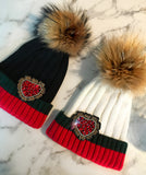 Green & Red Genuine Fur Heart Beanies