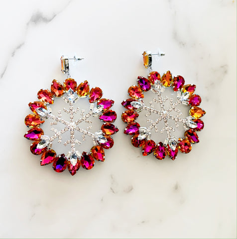 Hot Pink Snowflake Earrings