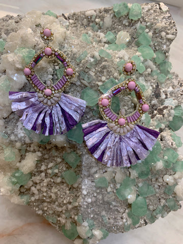 Purple Straw Crystal and Beaded Earrings