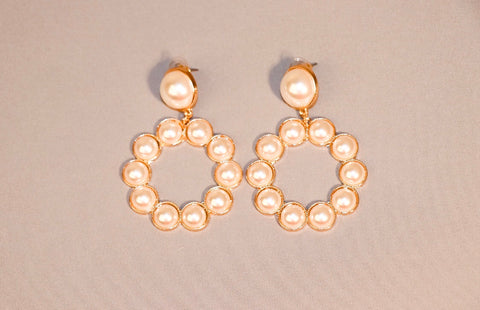 Gold and Pearl Small Hoops