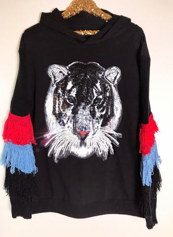 Tiger Fringe Sweatshirt Dress