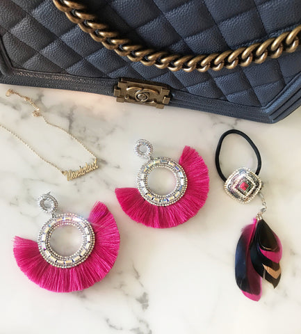 Fall Hot Pink Boho Glam Earrings / Feather Hair Tie
