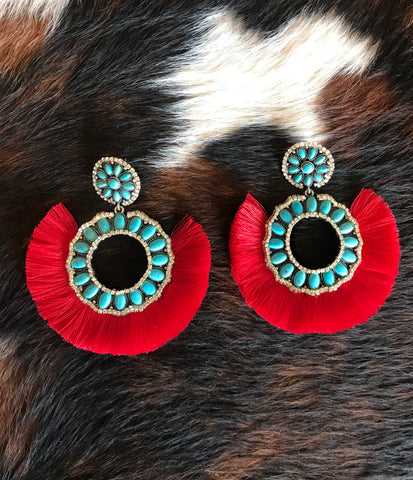 Turquoise and Red Crystal Fan Earrings