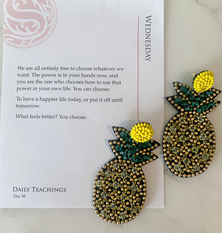 Beaded Pineapple Earrings