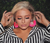 Hot Pink Crystal Fringe Earrings