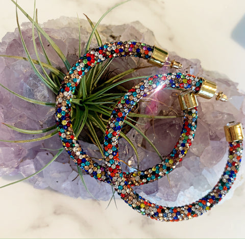 Multi Color Rhinestone Hoops